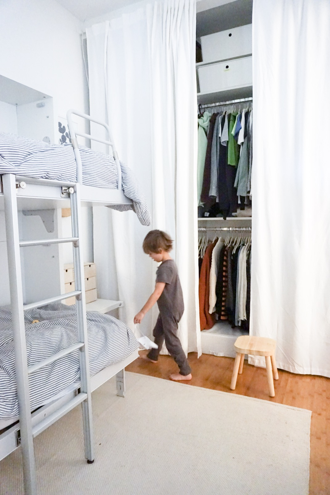 a peek at our closet in the kids room.