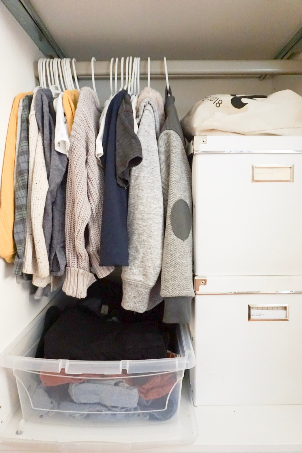Theo's section of our shared closet and our file boxes.