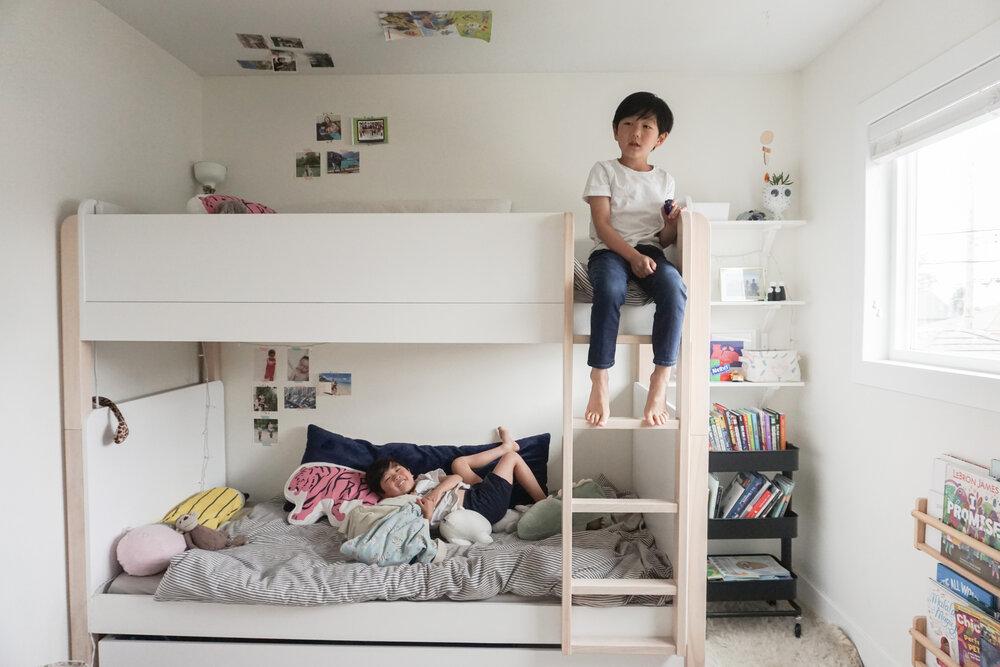 Kids Bedroom with super cute bunk bed (Babyletto TipToe).