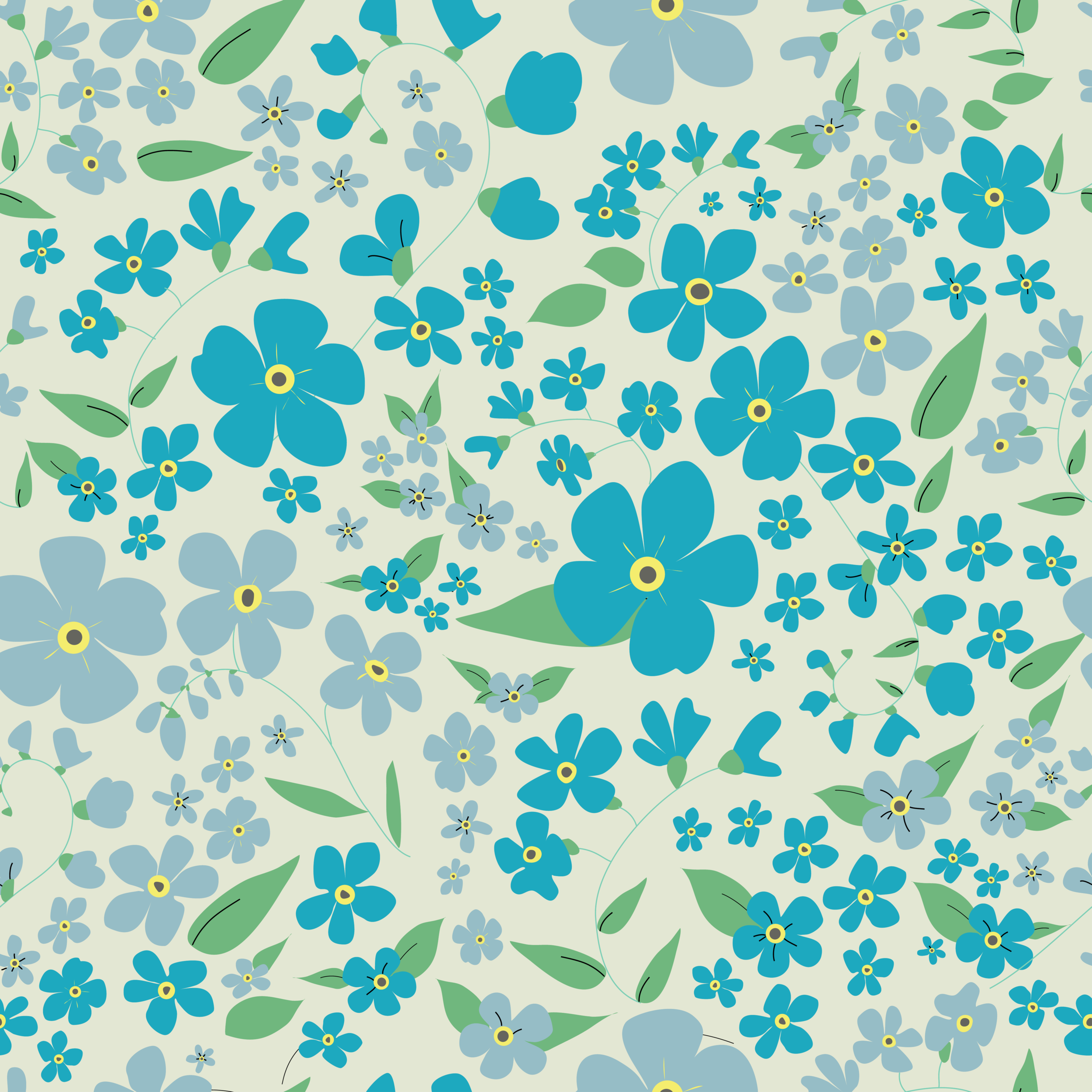 Forget-me-nots repeat pattern