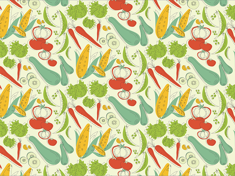 Retro-veggies half-drop repeat pattern