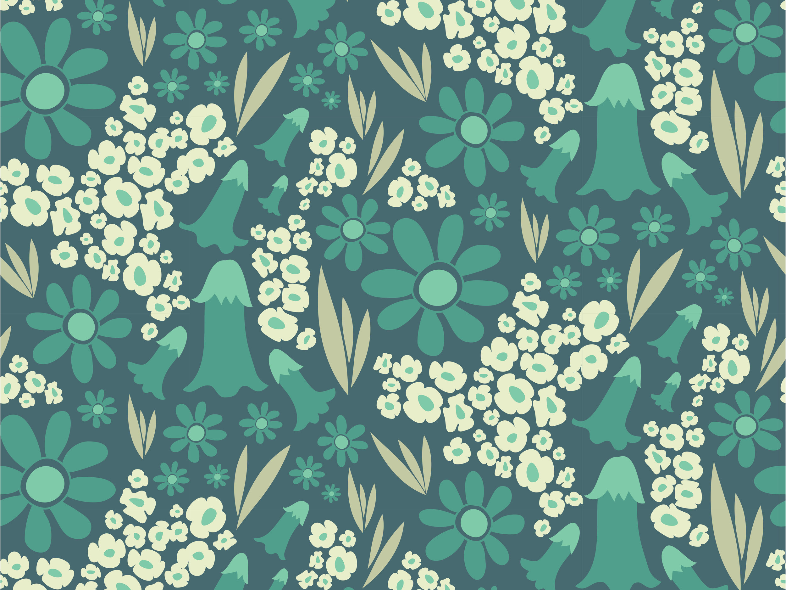 Daisies for Days (Green) half-drop repeat pattern