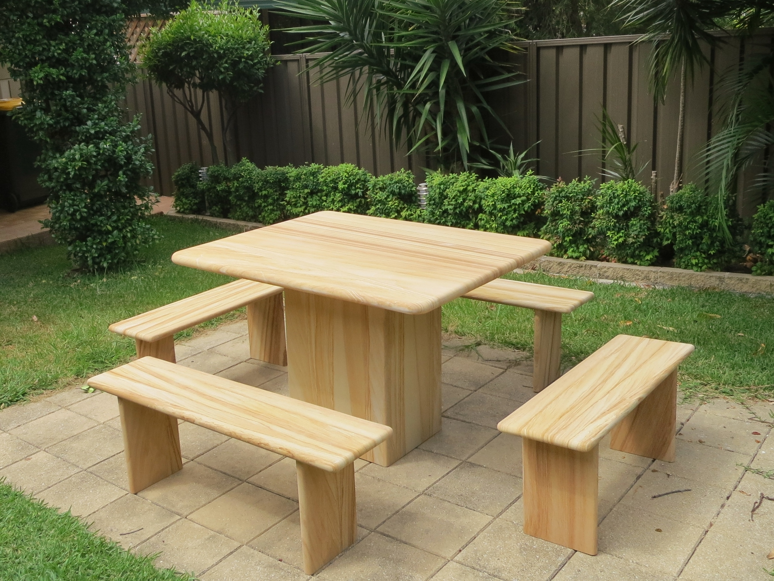 116 Sandstone garden furnniture custom made from woodgrain tough sandstone $2000.JPG