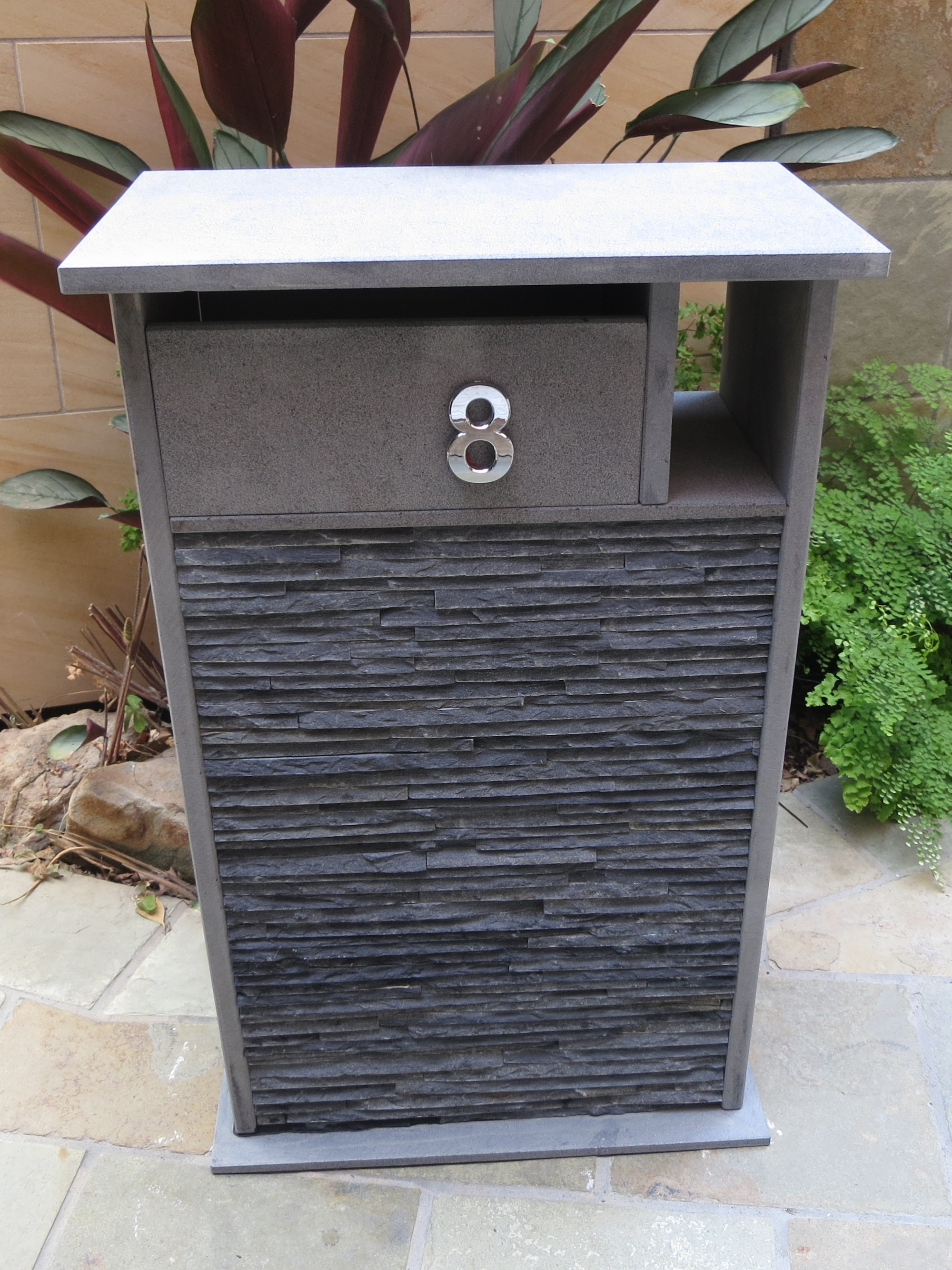 001 Blue stone custom made letterbox.JPG