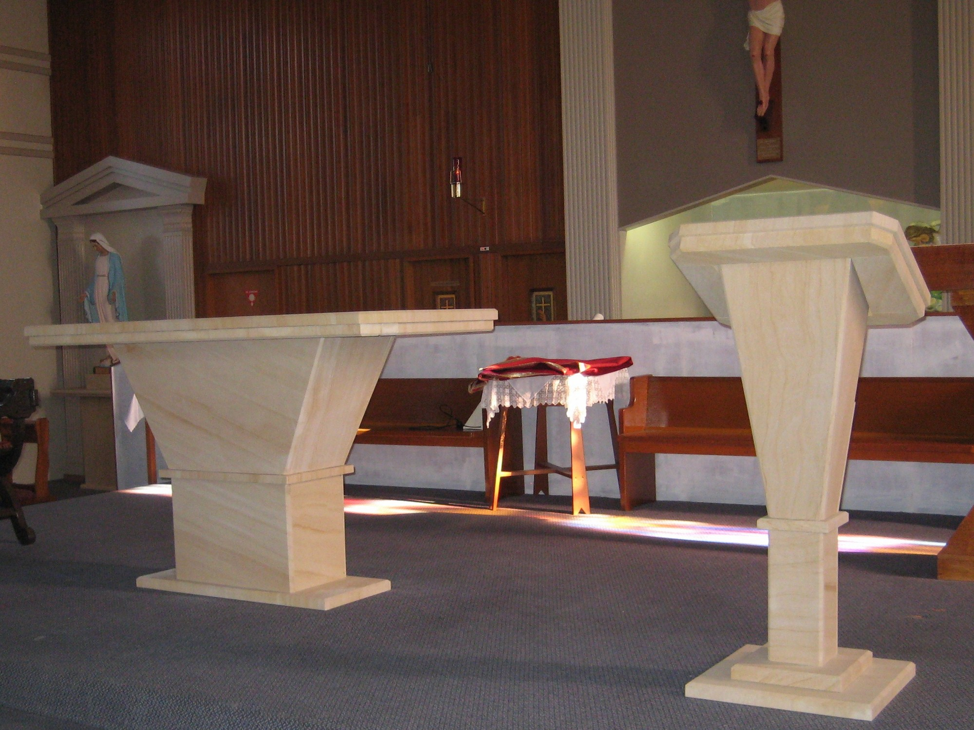 2. Woodgrain sandstone reading stand and oltar for churche. We make furniture to order.