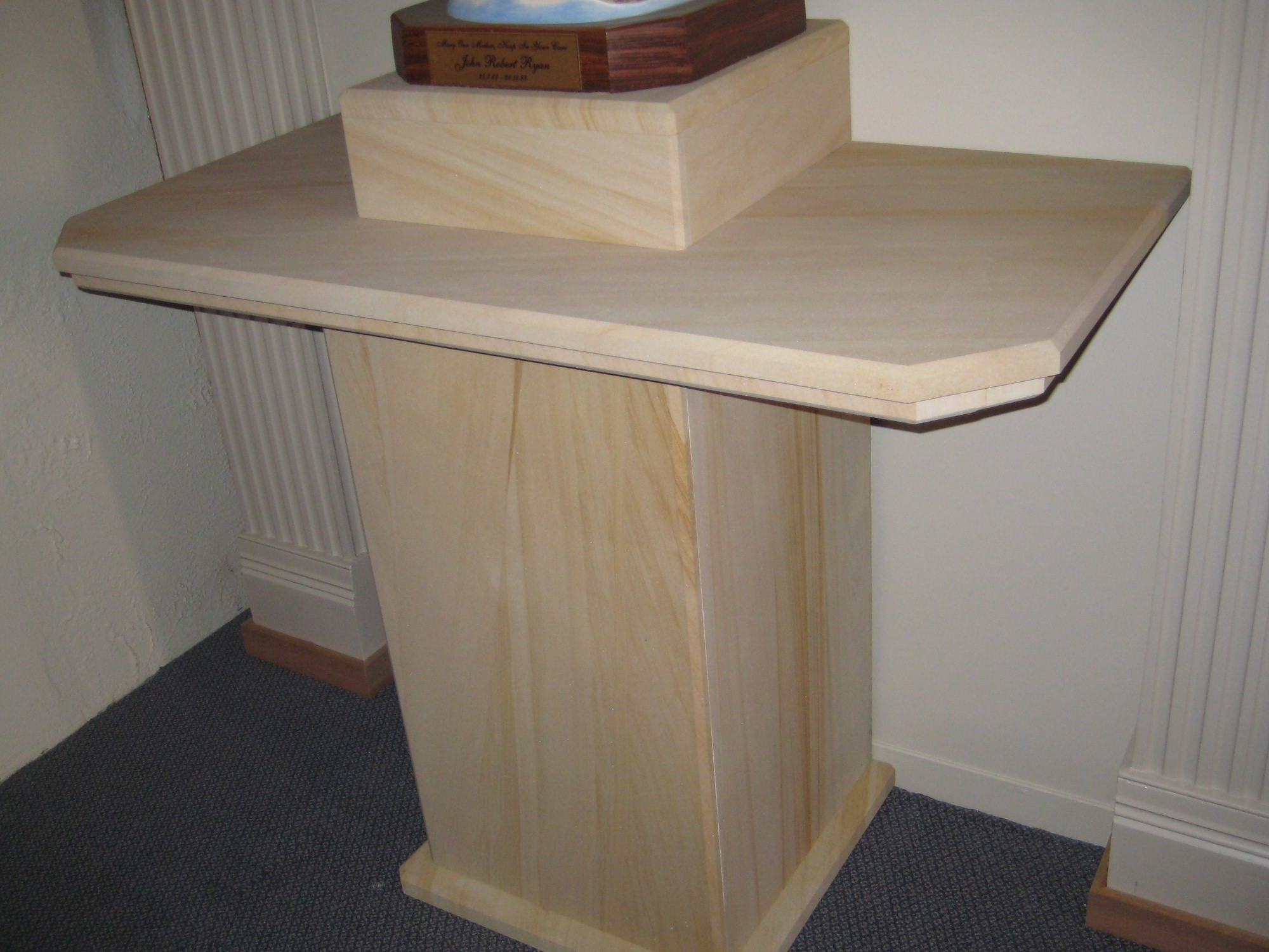 34. Woodgrain sandstone pedestal for churche. We make furniture to order.
