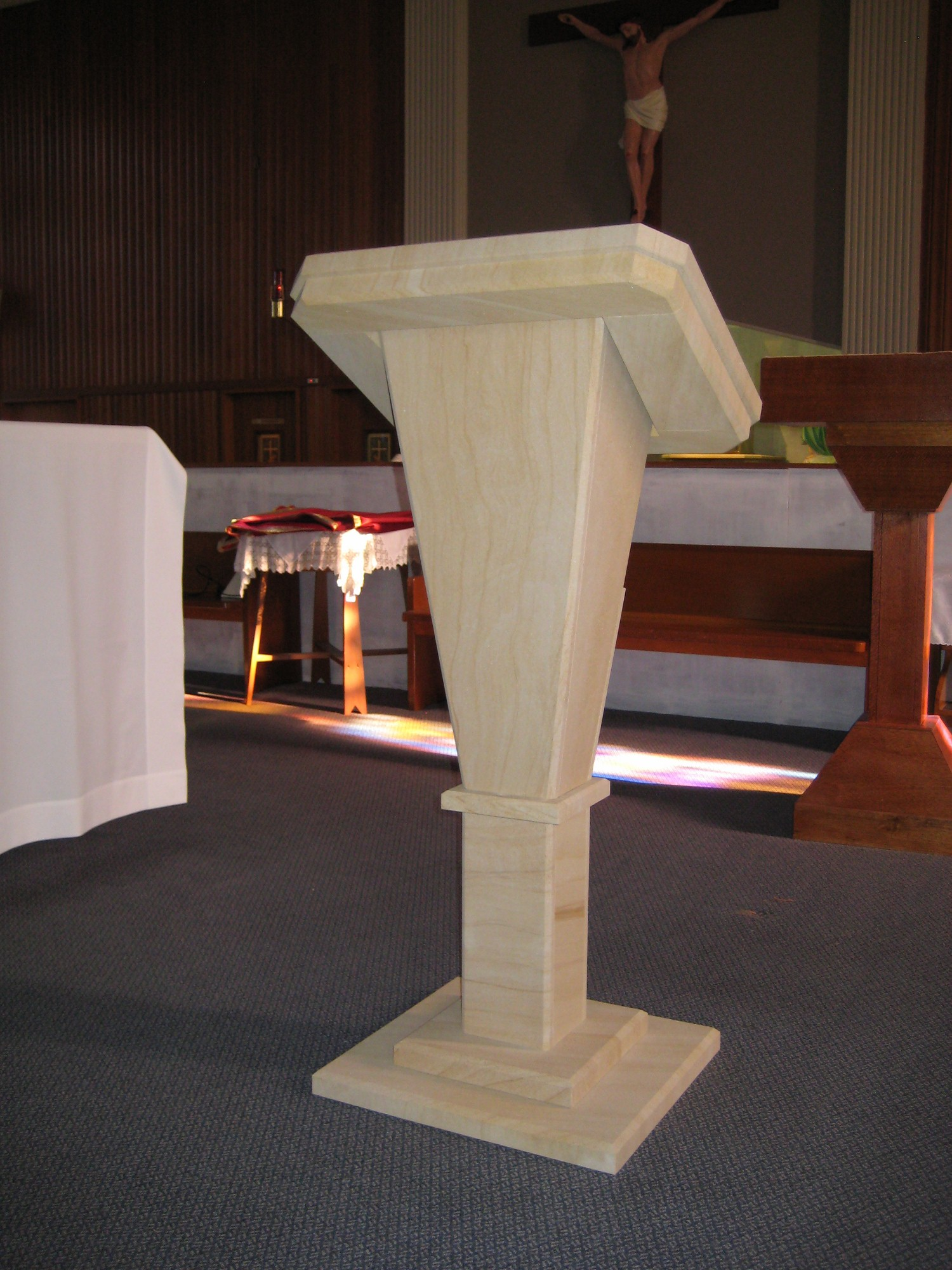 36. Woodgrain sandstone oltar and reading stand for church. We make furniture to order.