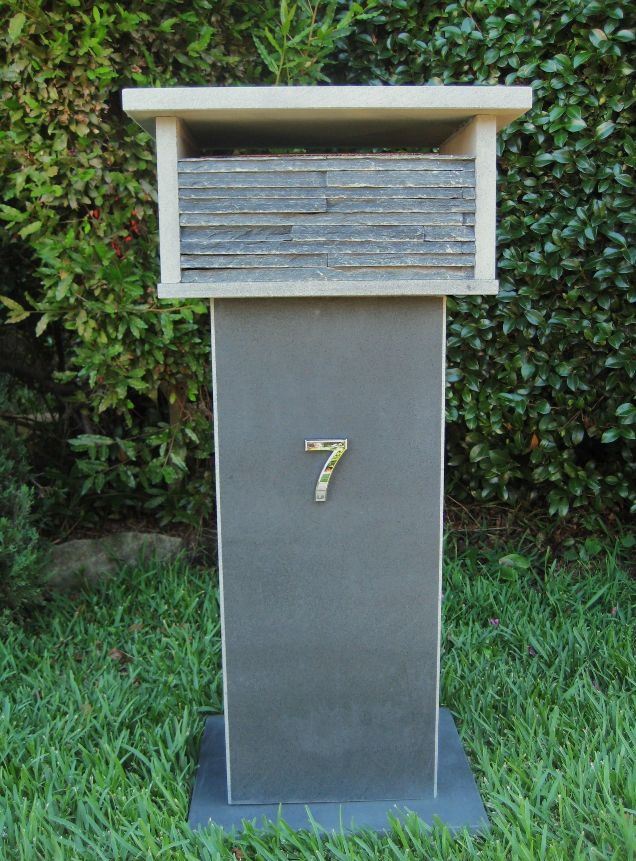 4. Bluestone Letterbox solid, aluminium back door with 2 key lock 860cm high top part mesure 300mm x 400mm. $600