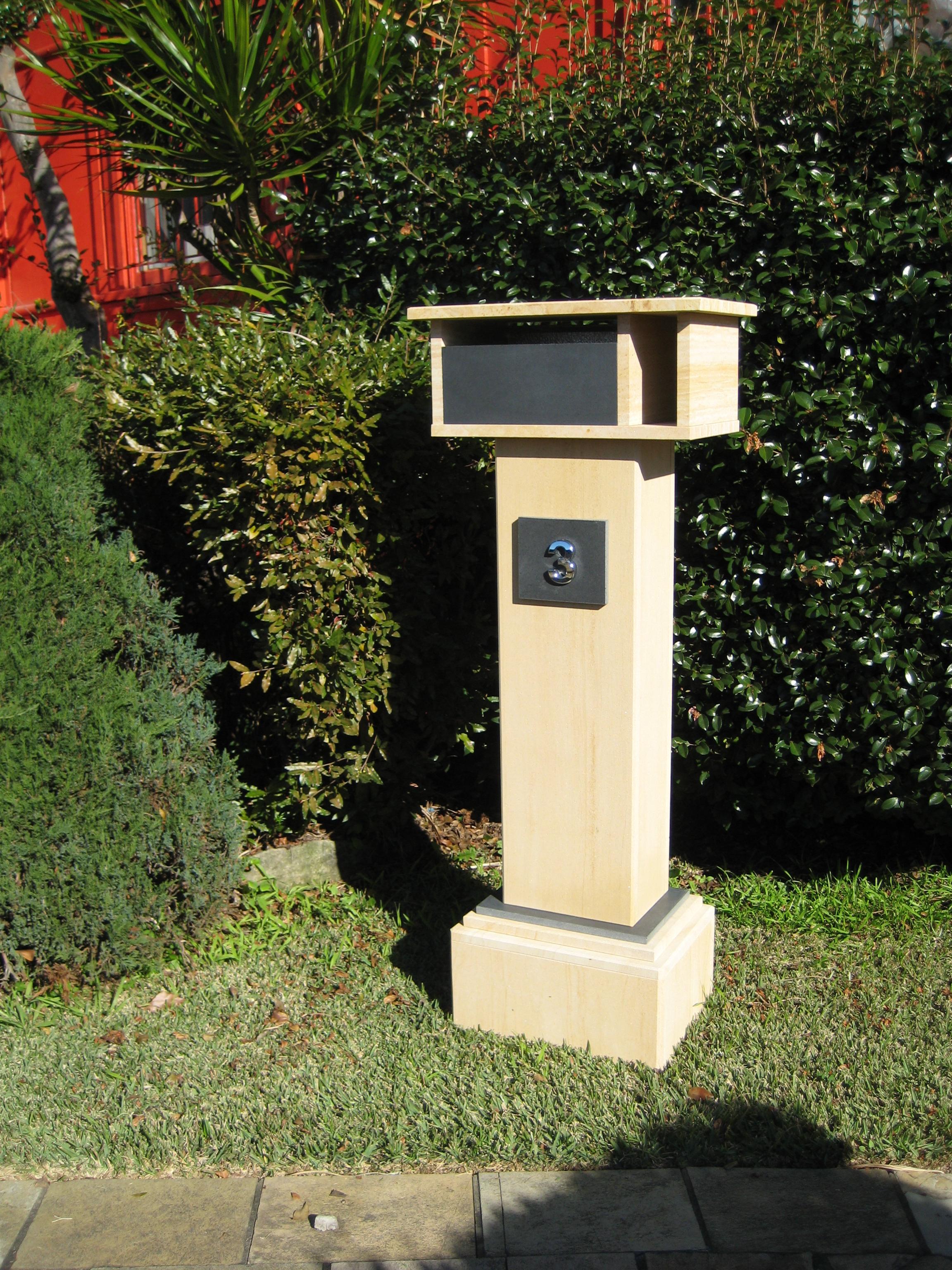46. Extra tall letterbox, woodgrain sandstone. 1060 tall, dimensions 1250x500x300 $790