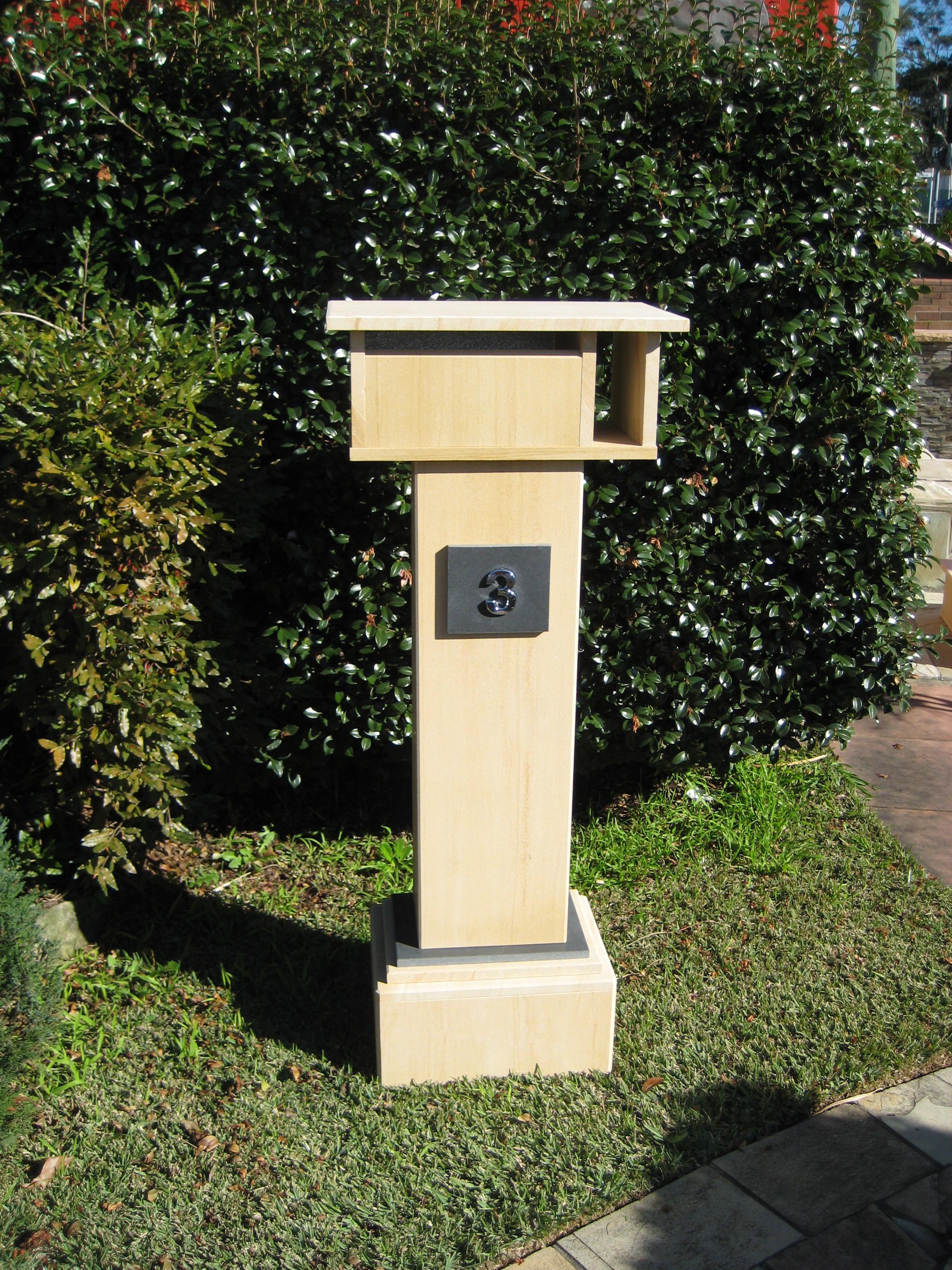 47. Extra tall letterbox, woodgrain sandstone. 1060 tall, dimensions 1250x500x300 $790