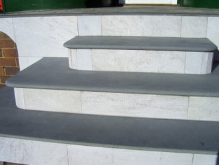 8. 20mm, 30mm and 40mm thick honed Mongolian Black steps are excellent for heritage buildings. It is popular combined with tessellated tiles as patio edging.