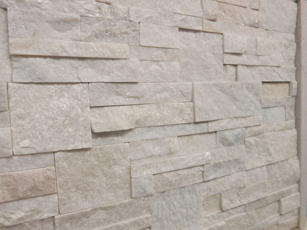 33. White Crystalized quartzite interlocking stacker