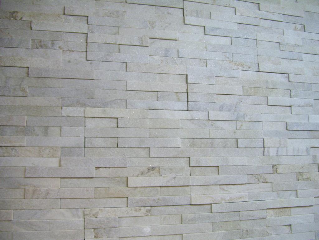 49. White quartzite stacked stone