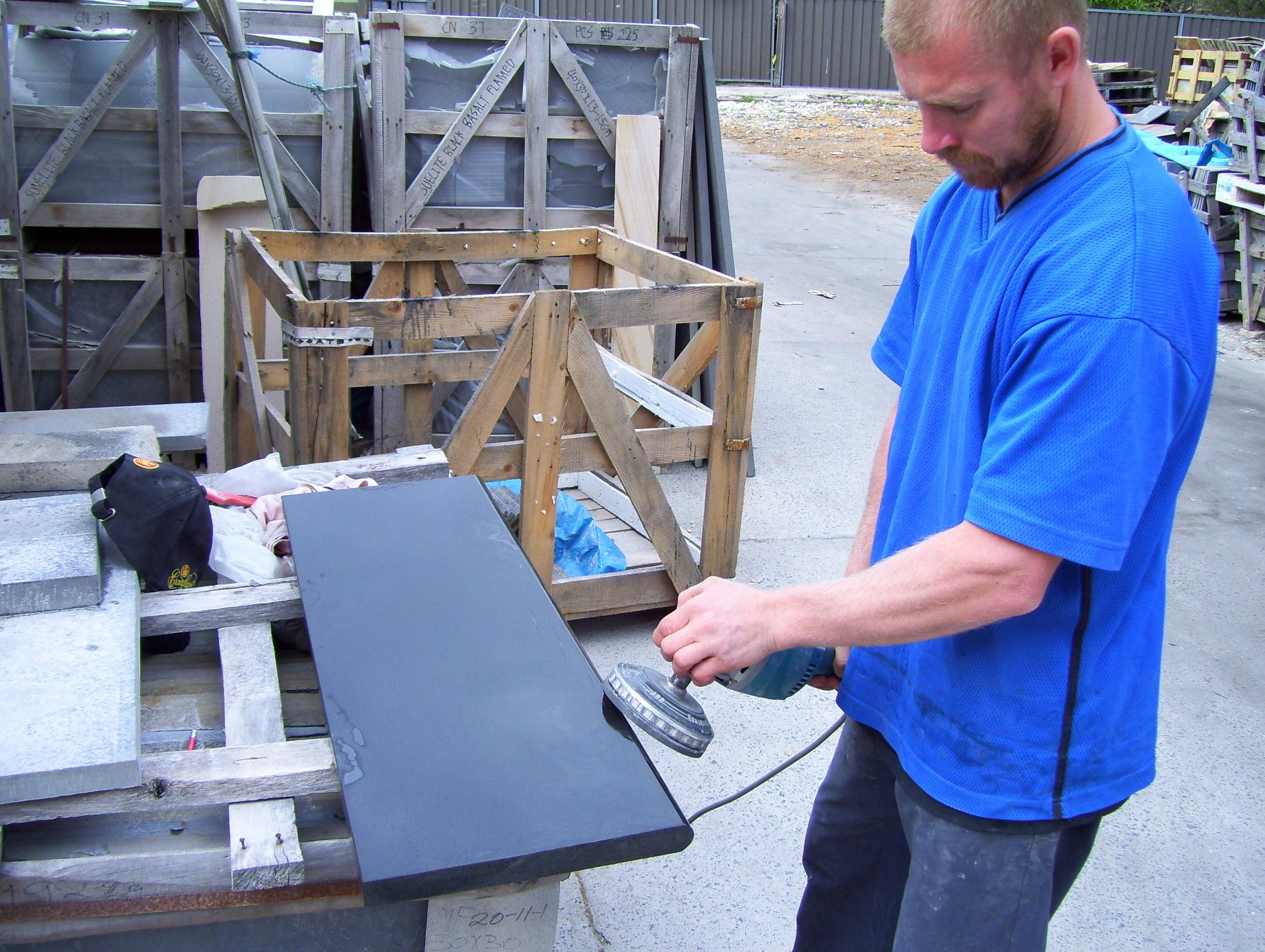 011 Our stonemason bullnosing Mongolian black step thread..JPG