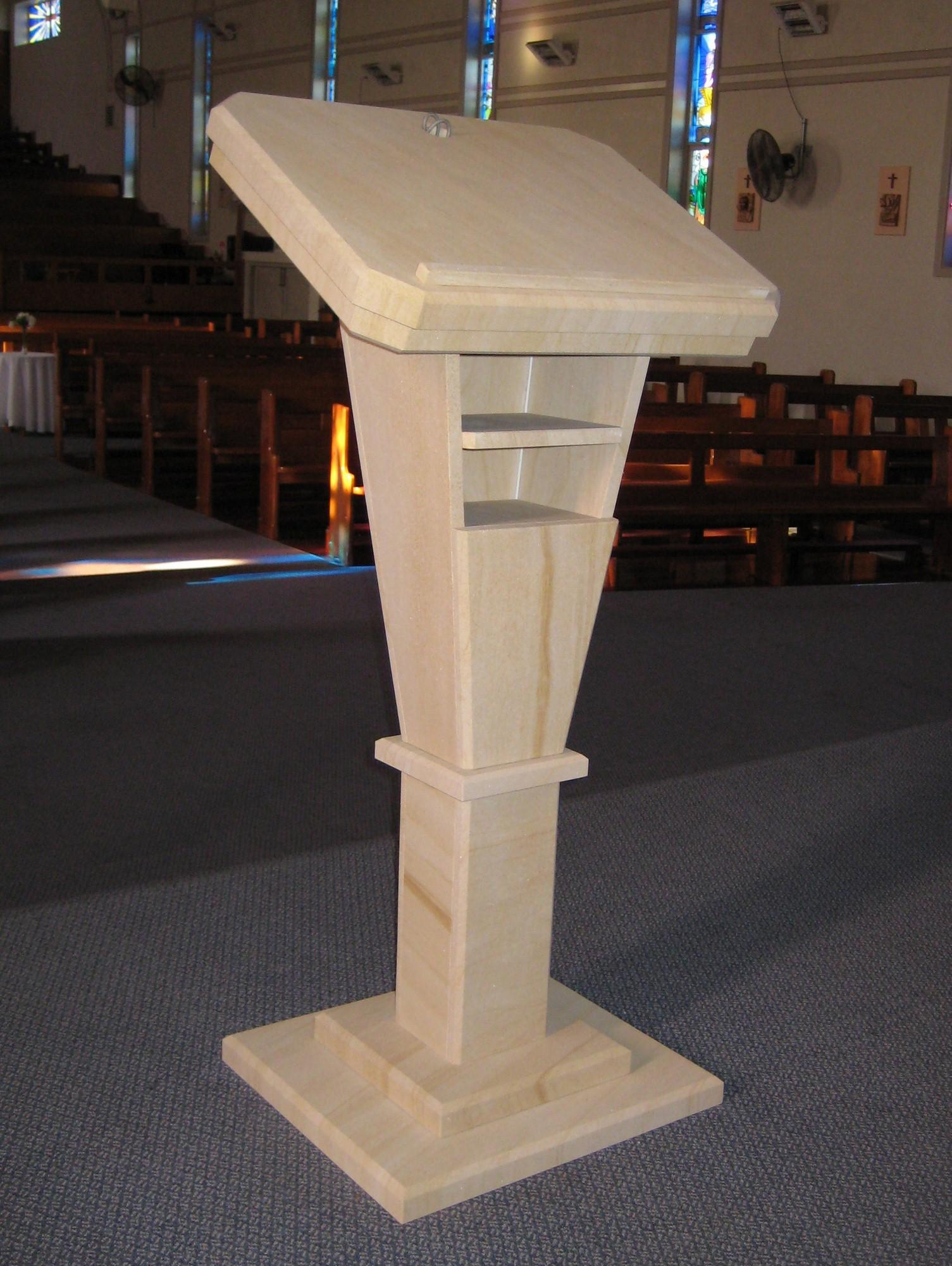 136 Woodgrain sandstone reading stand. We make furniture to order..jpg
