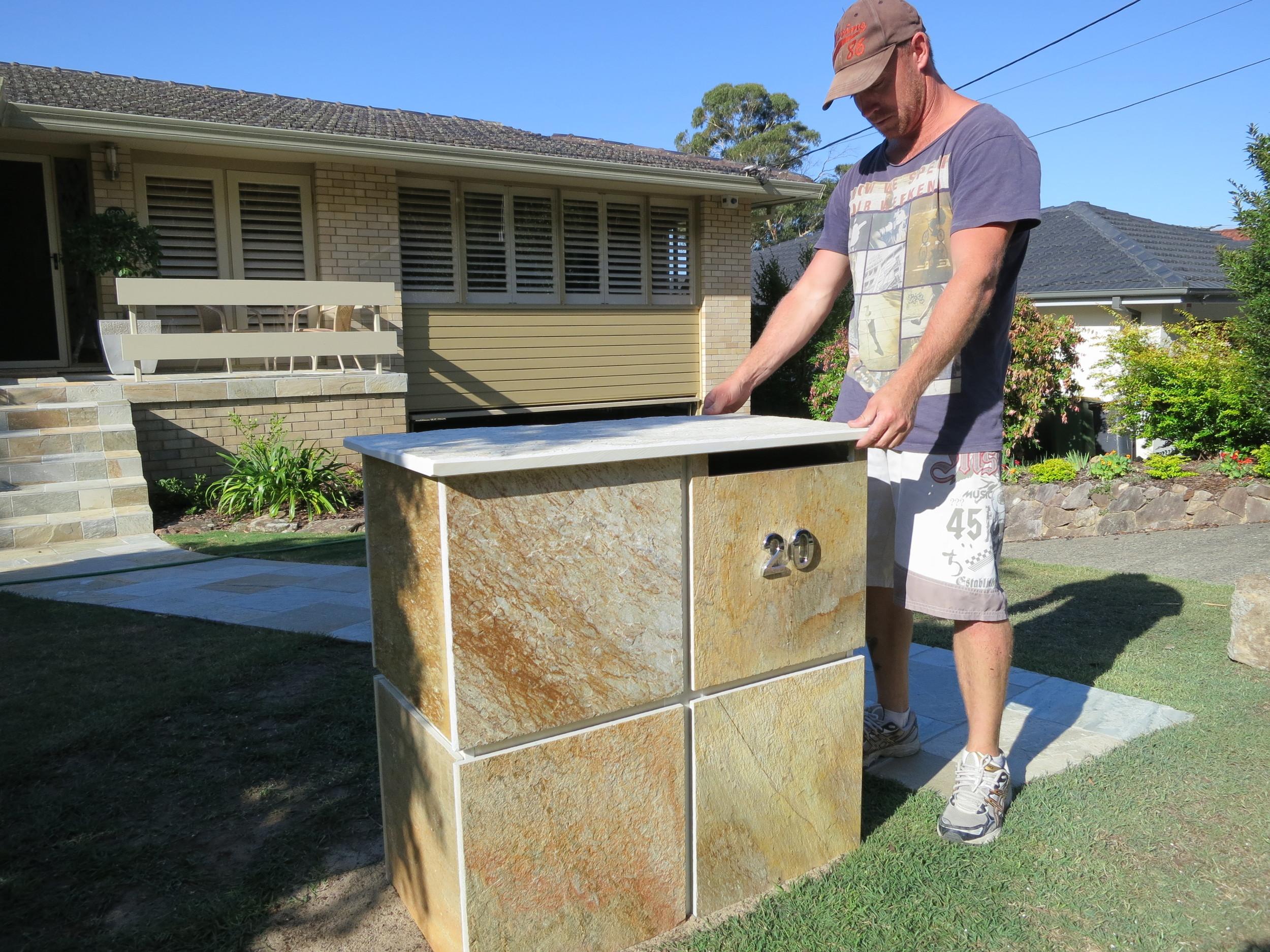 352 Custom made letterbox, Quartzite built to measure $ 1200.JPG