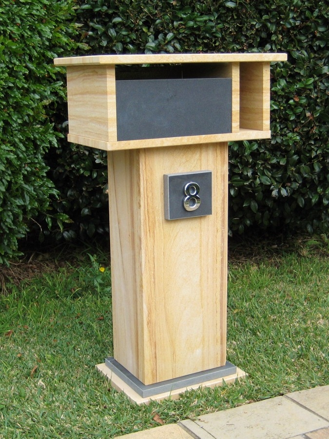 1. Sandstone and bluestone letterbox aluminium back door with 2 key lock 850x500x290 $600