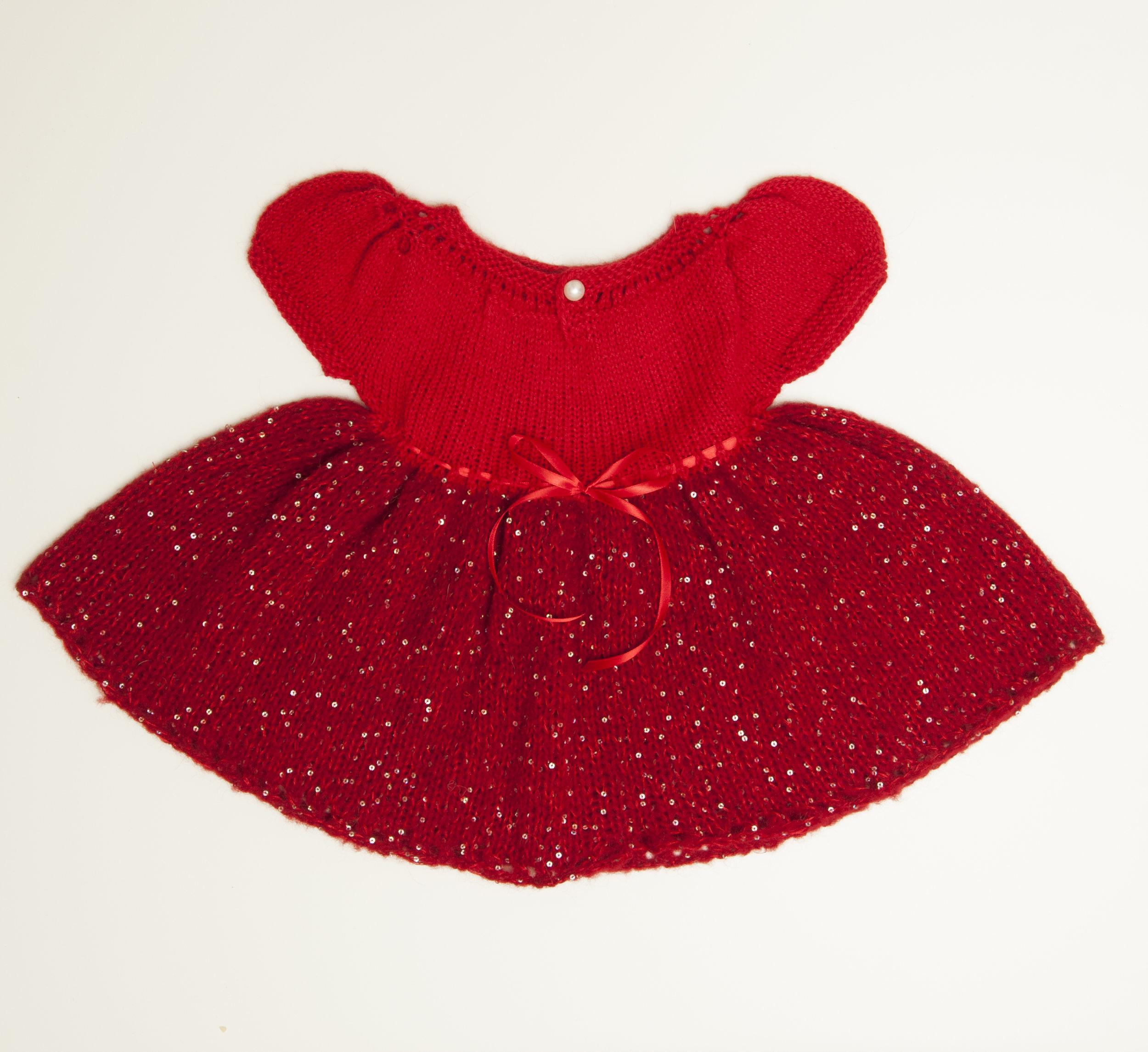 Prinsessekjolen i Rød Dale Alpakka og Faerytale+bling