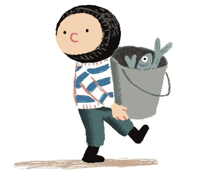 Noi, the whale-rescuing hero of Benji Davies's The Storm Whale. Copyright Benji Davies