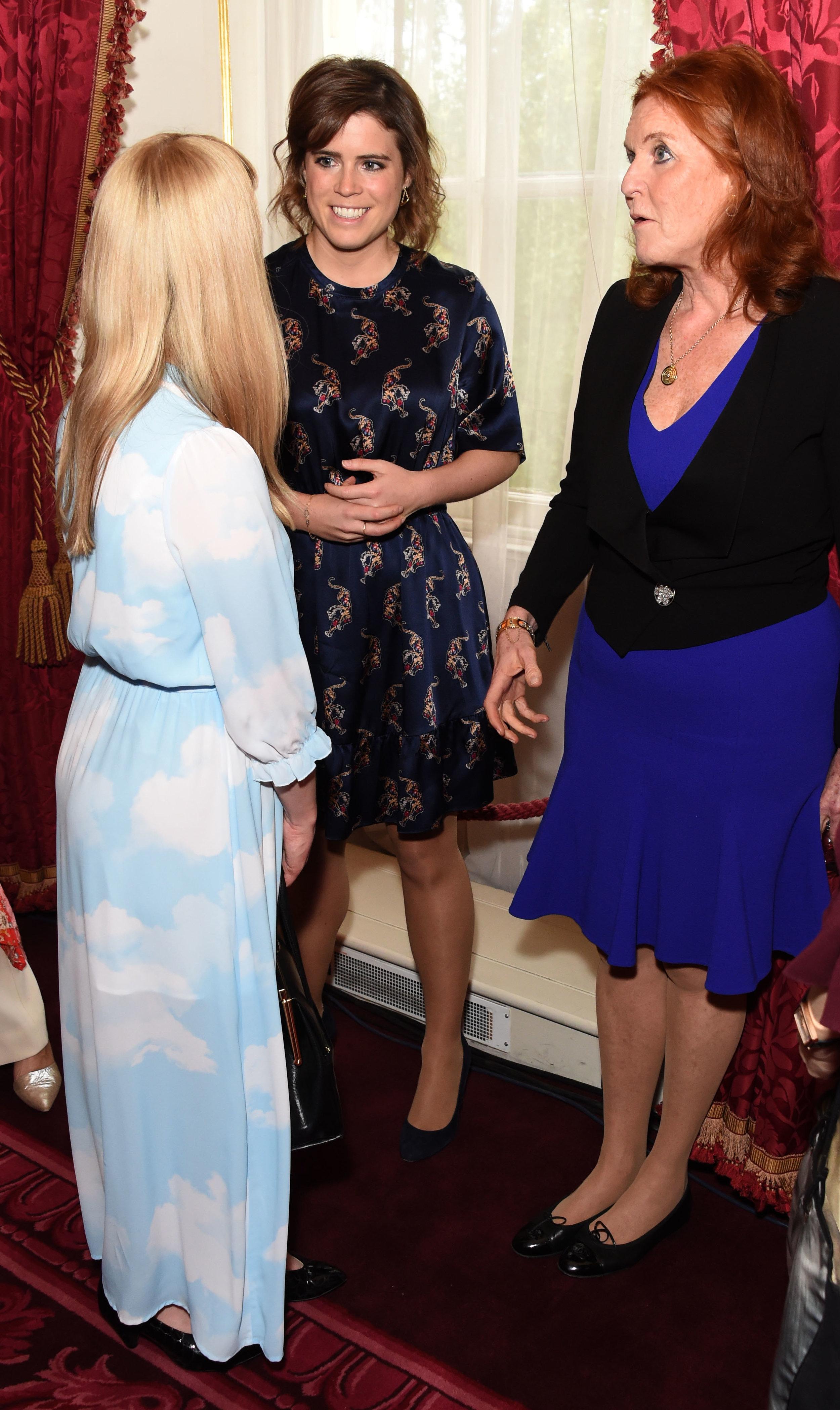 Oscar's Book Prize 2018 winning illustrator Laura Hughes, HRH Princess Eugenie and Sarah, Duchess of York. Image: Dave Benett