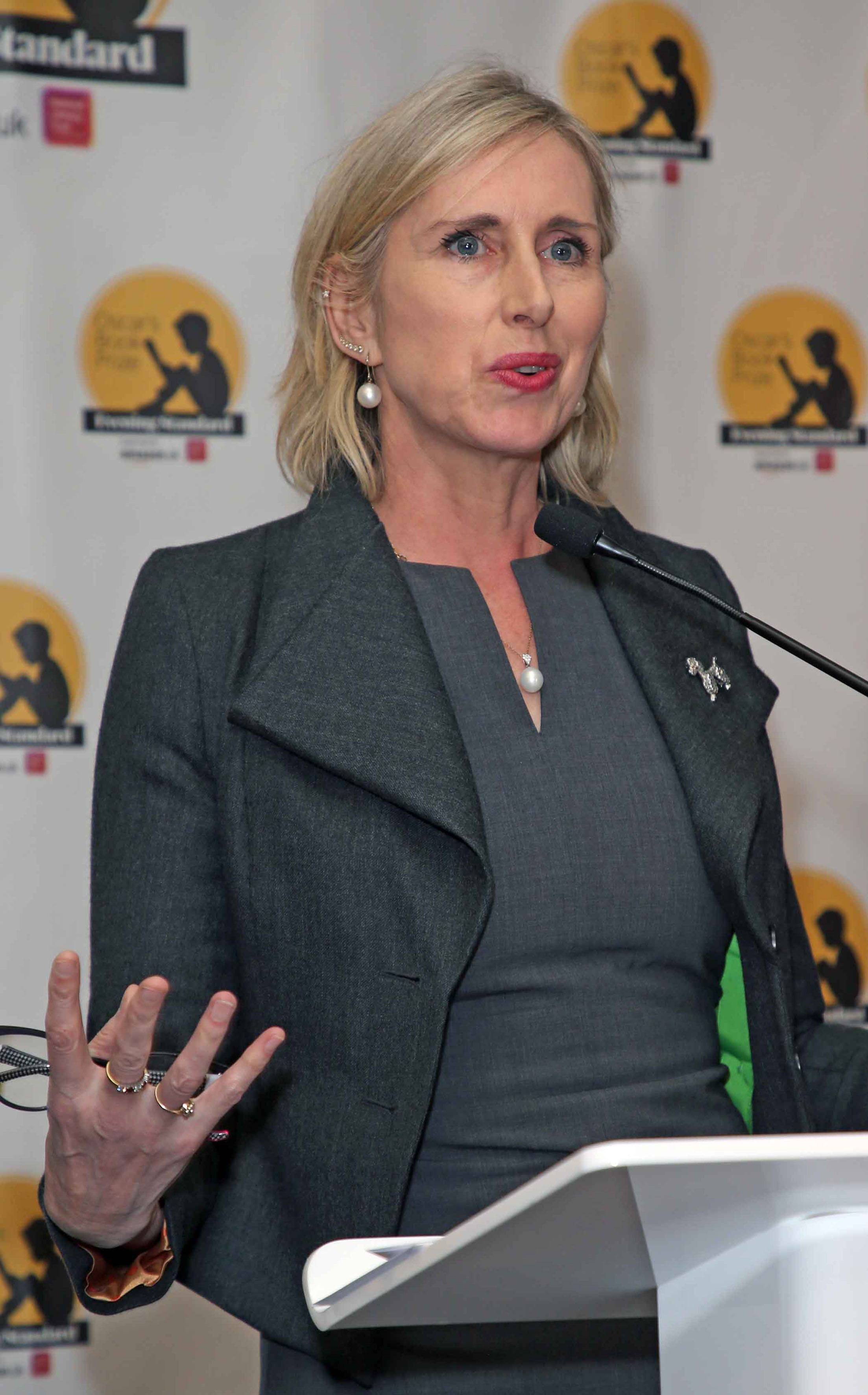 Dream judge: Children's Laureate Lauren Child, who was a judge for the 2019 Oscar's Book Prize, speaking at the awards ceremony at the May Fair Hotel. Photography: Nigel Howard Media