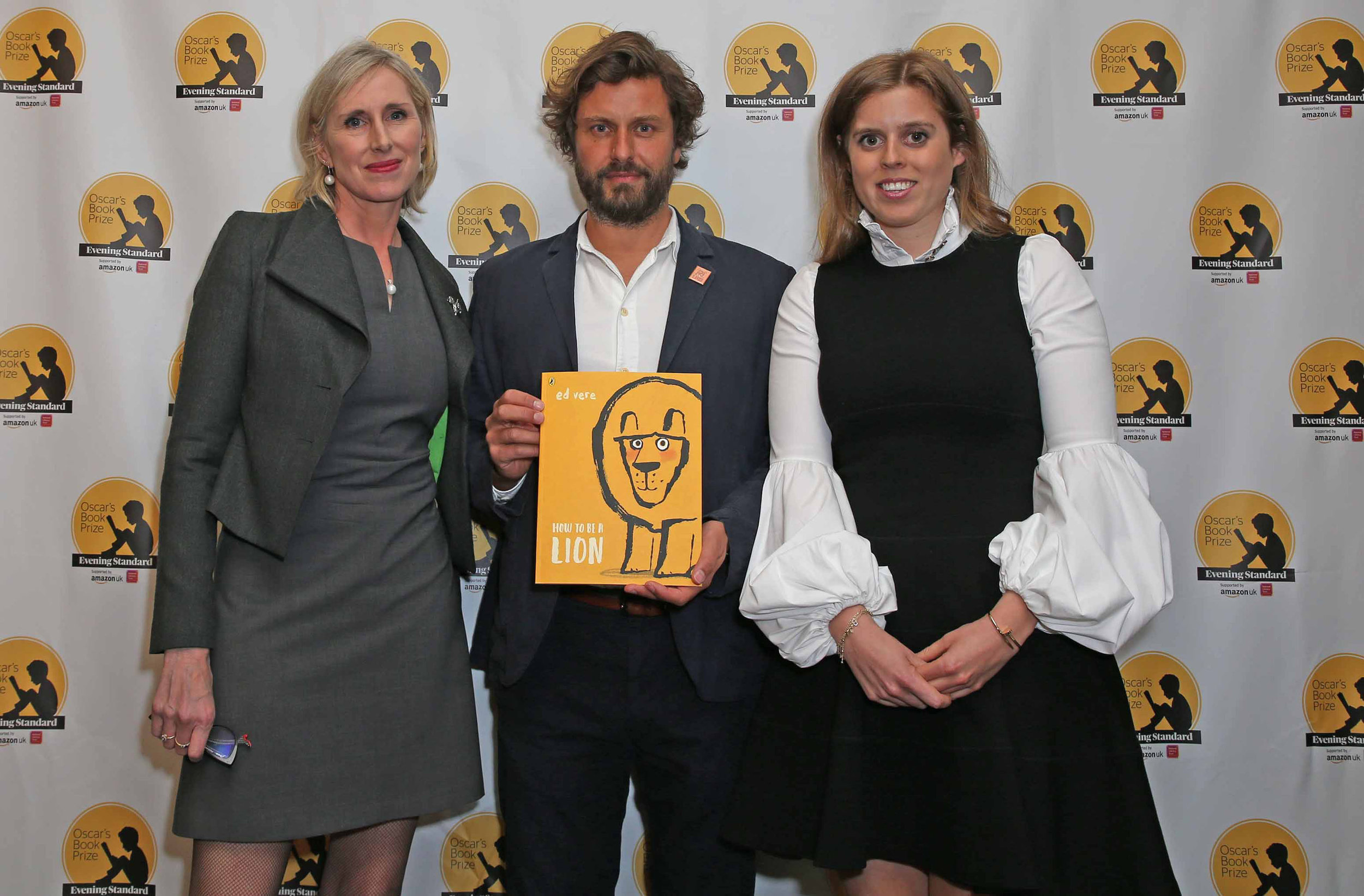 Children's Laureate Lauren Child; 2019 winner of Oscar's Book Prize, Ed Vere, and Oscar's Book Prize Royal Patron, HRH Princess Beatrice. Photography: Nigel Howard Media
