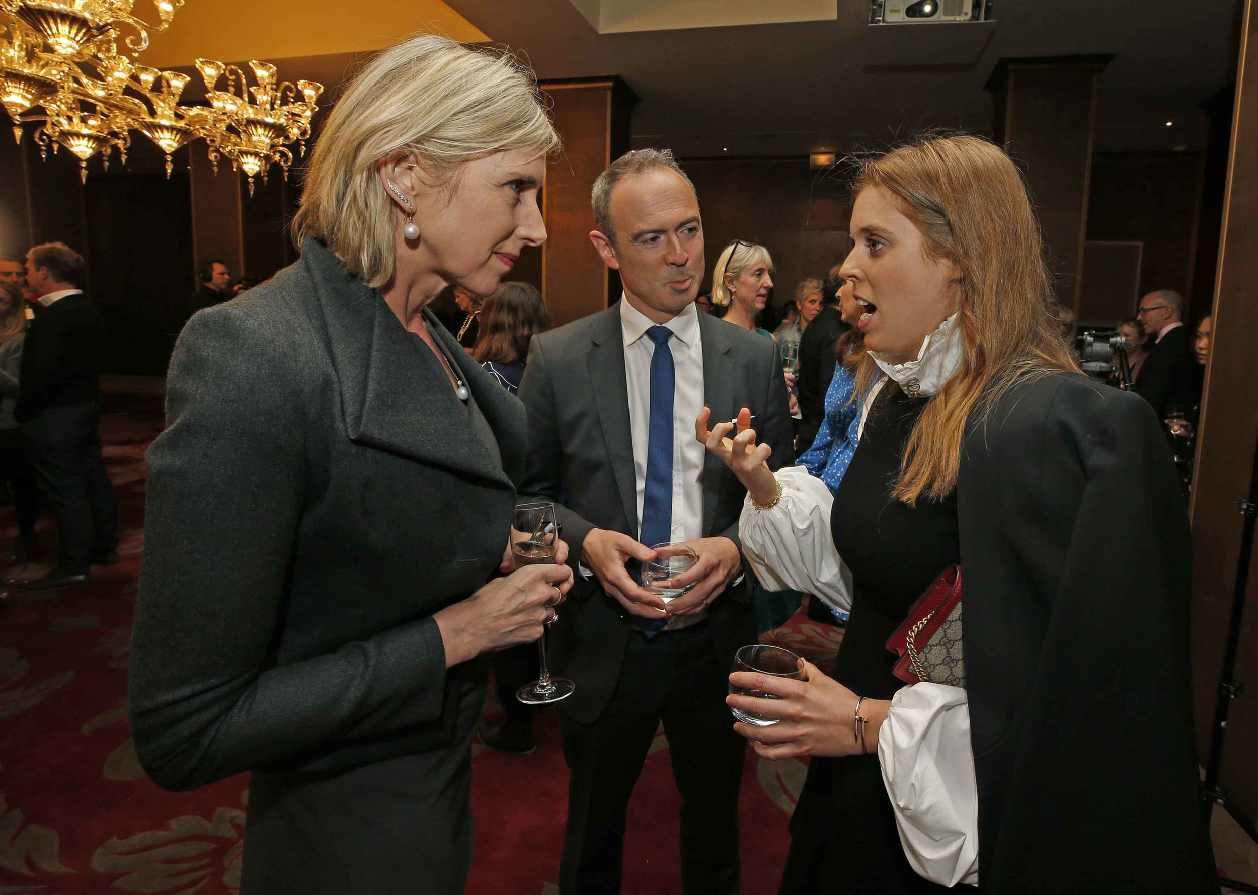 Children's Laureate and 2019 Oscar's Book Prize judge Lauren Child; James Ashton, Founder of Oscar's Book Prize, and HRH Princess Beatrice. Photography: Nigel Howard Media.