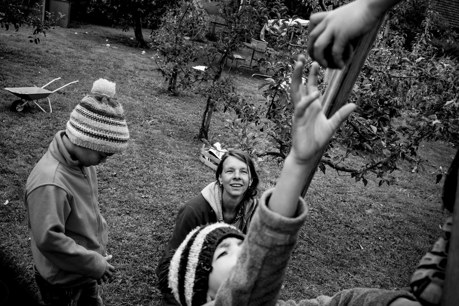 Birnenernte Familie - Familienfotografin unterwegs | Familienfotos drinnen und draussen