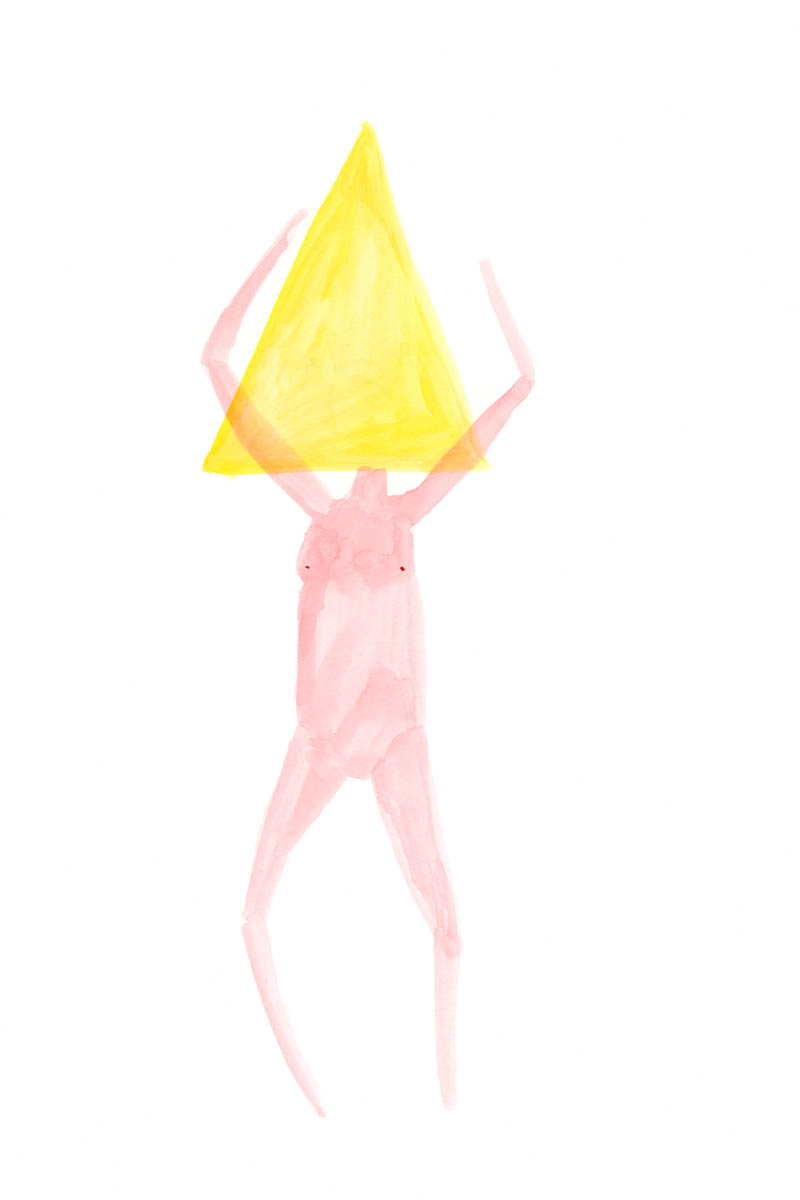 Triangle Head by Claire de Lune 2015, watercolour on paper, 30 x 42 cm