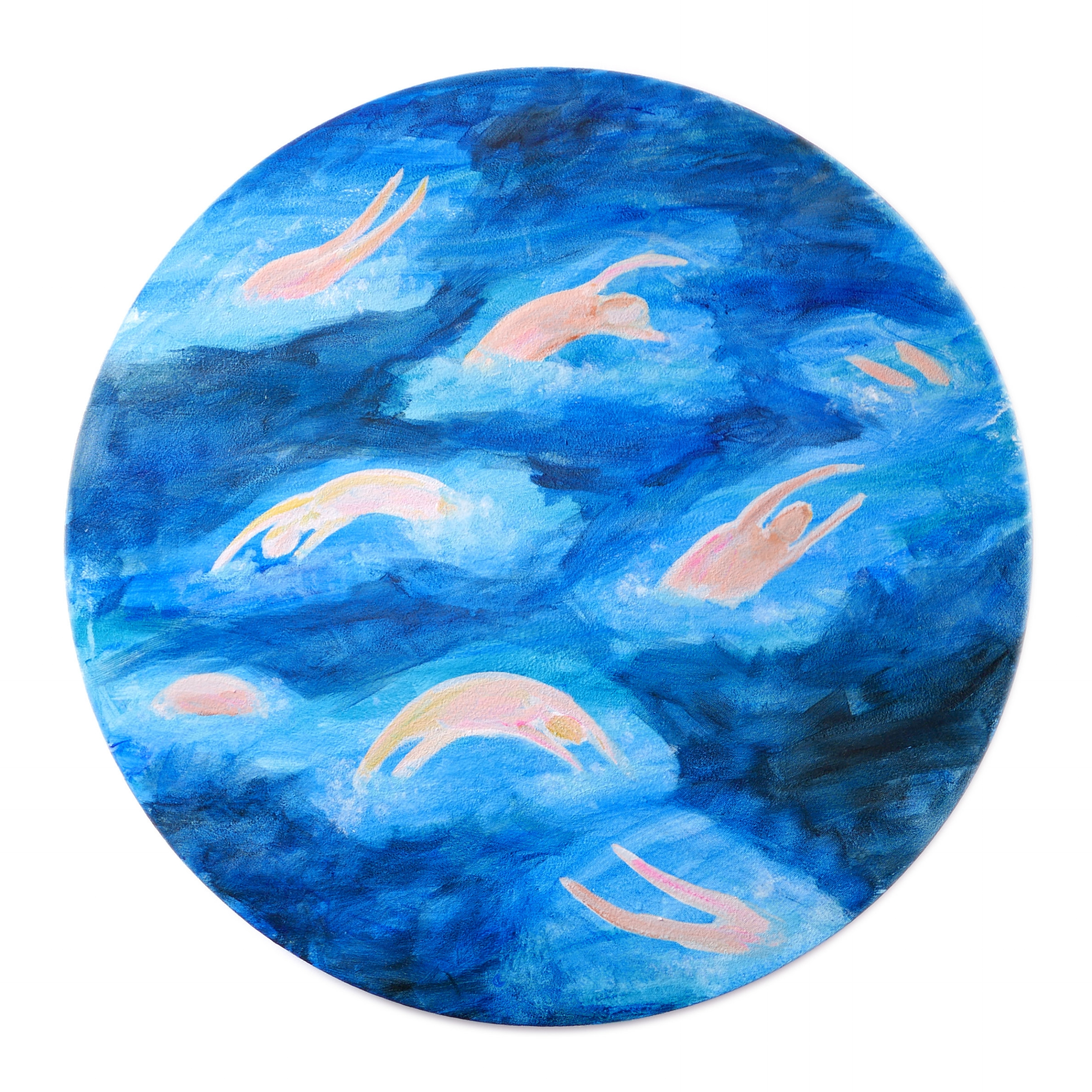 Your memories are little fish by Claire de Lune 2018, acrylic gesso and satin glaze on stretched linen, 80cm radius