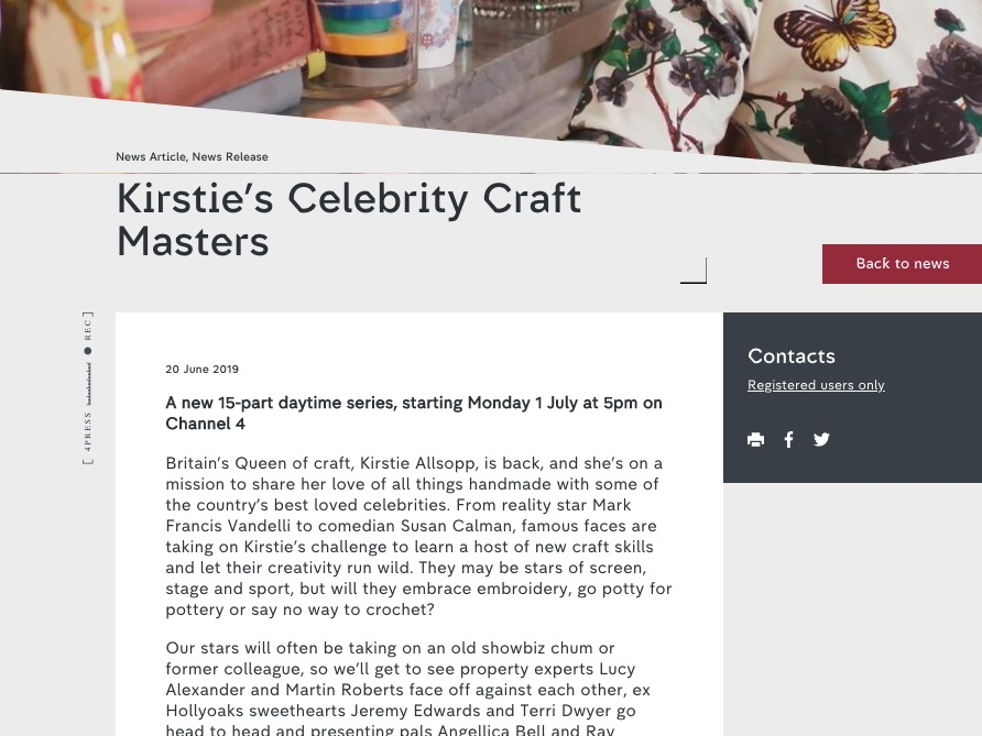 Channel 4: Kirstie's Celebrity Craft Masters Press Release - Check out the press release for the new Channel 4 show in which I got to be an 'Expert Crafter' and help my celebs battle it out!