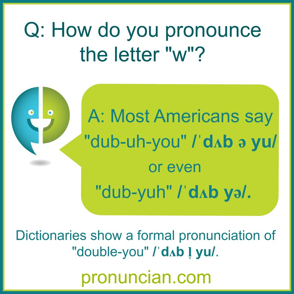 """How do you pronounce the letter """"w""""? — Pronuncian: American"""