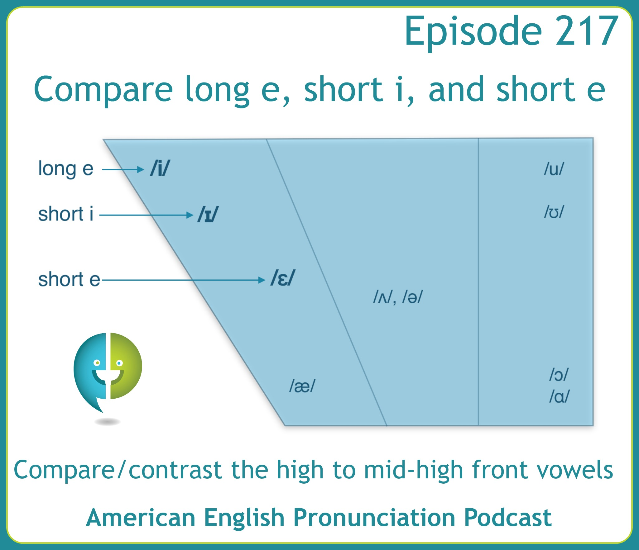 Practice pronouncing the mid-high to high front vowels in American English: Long e, short i, and short e