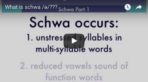 Watch our  schwa video  for ESL/ELL students learning English pronunciation