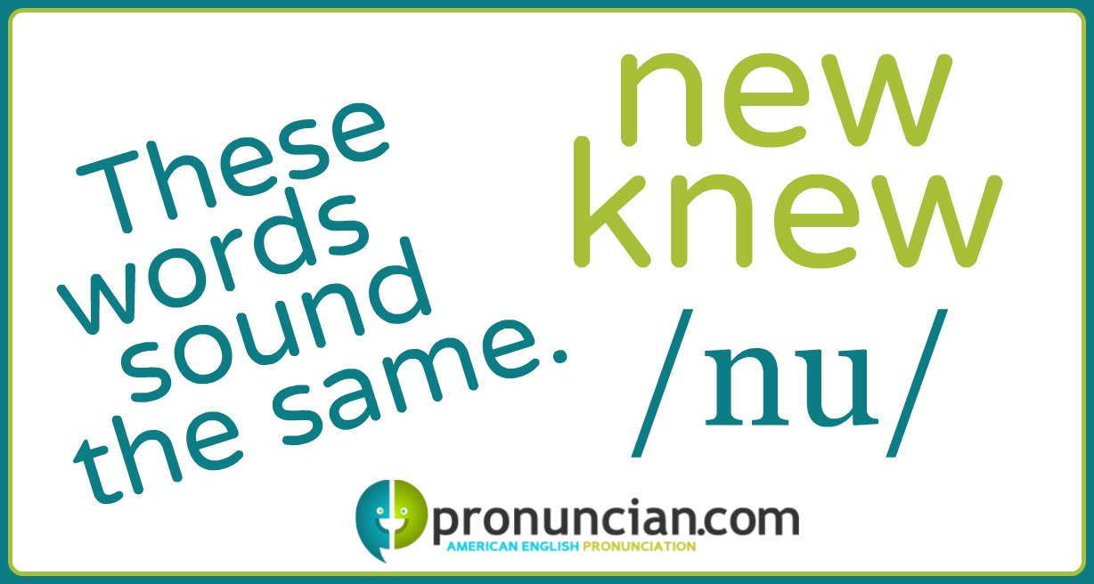 """'New' and """"knew"""" are homophones and are pronounced the same."""