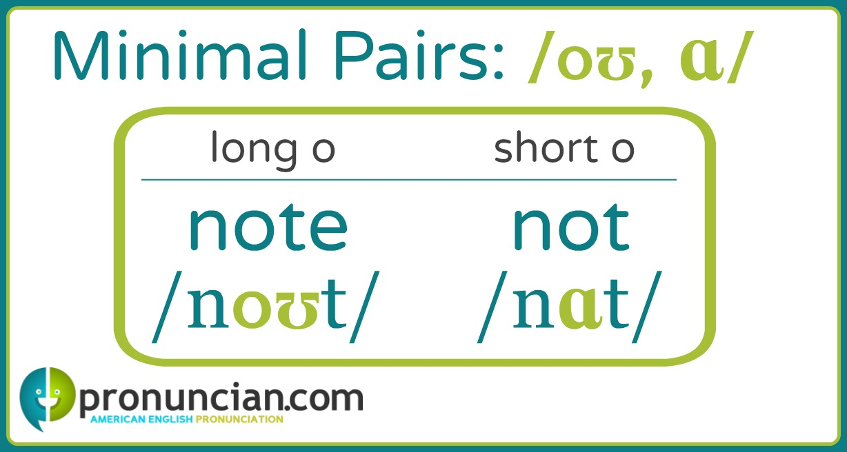 Listen and repeat to practice long o/short o minimal pairs: note, not; owed, odd; goat, got