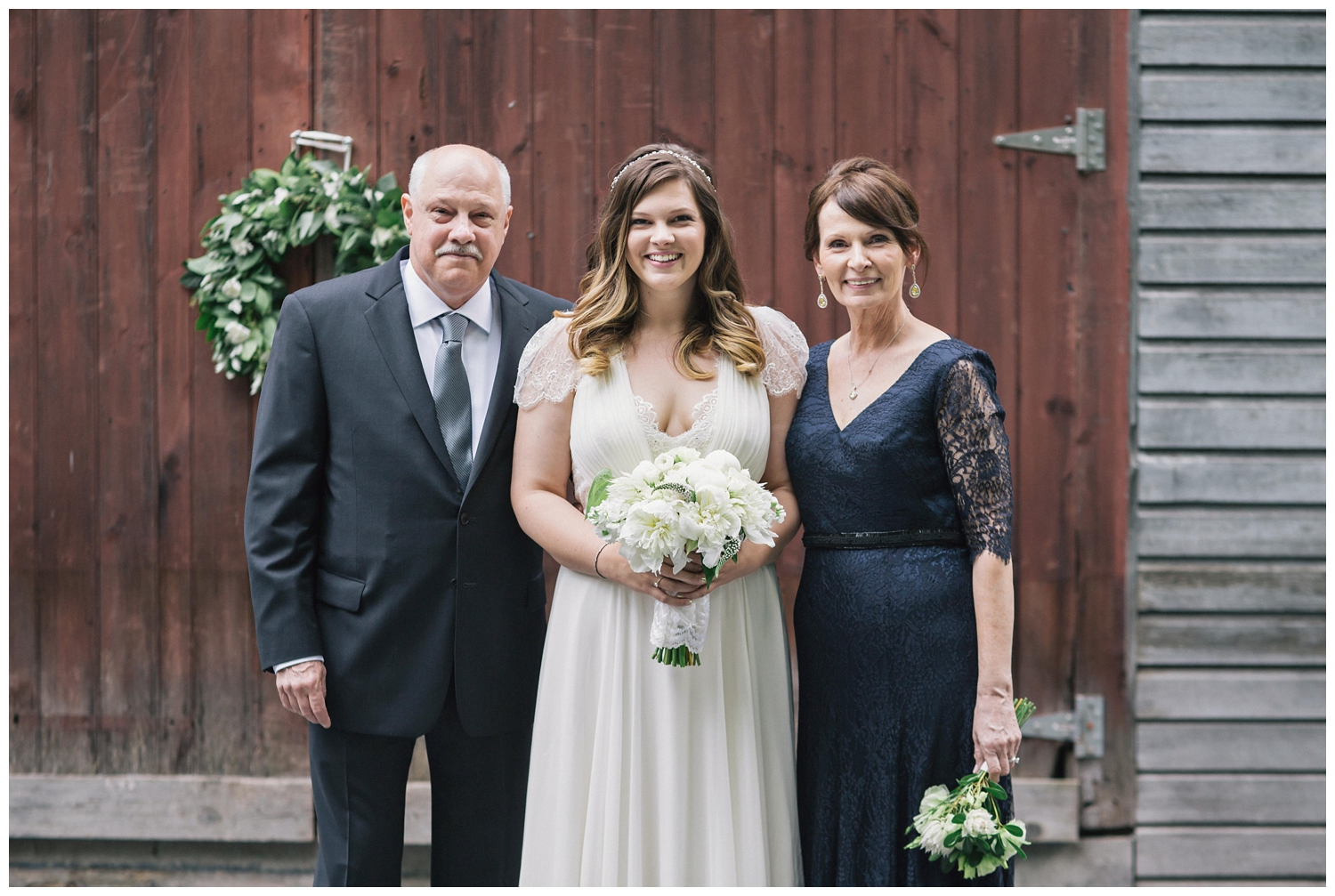 The Roxbury Barn Wedding Venue | Bride and Parents | Barn Wedding