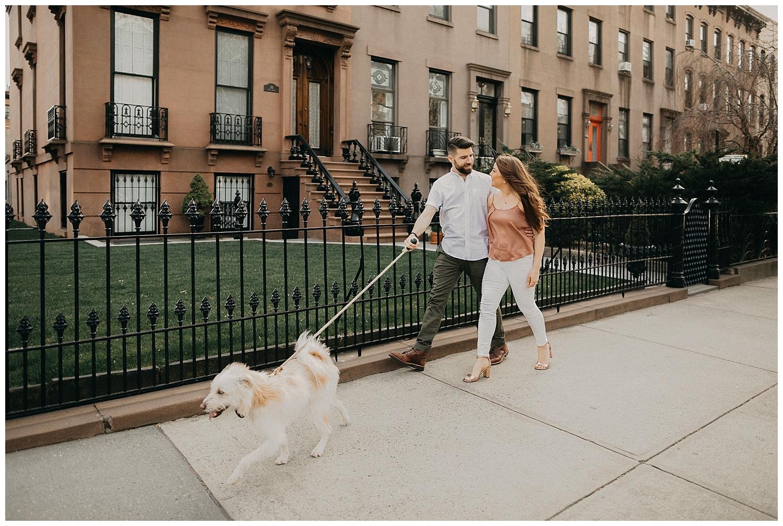 Brooklyn Neighborhood Engagement Session | Brooklyn, NY | Engagement Session with Dog | www.redoakweddings.com