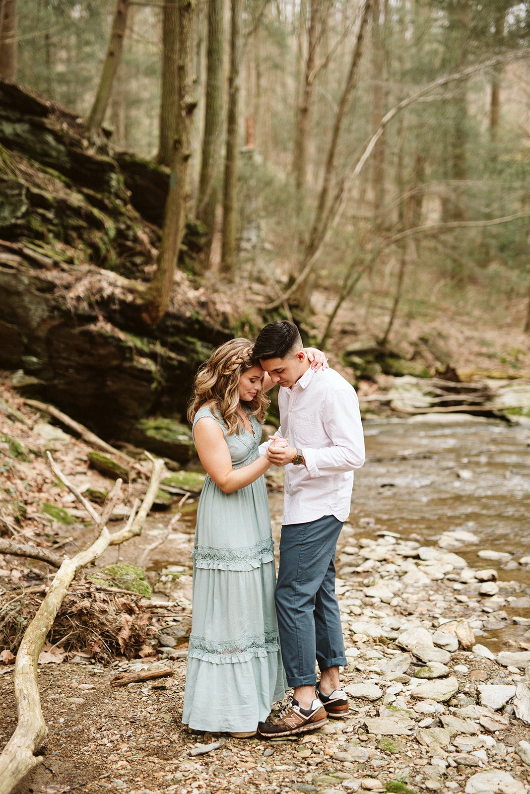 A couple enjoys a slow dance during their engagement session near Lancaster, Pennsylvania.
