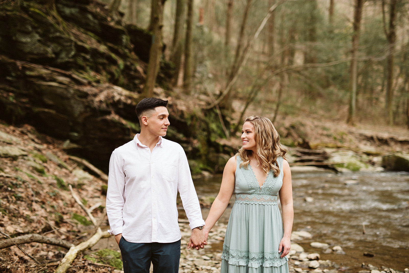 Adventurous engagement session in Tucquan Glen Nature Preserve, near Lancaster, Pennsylvania.