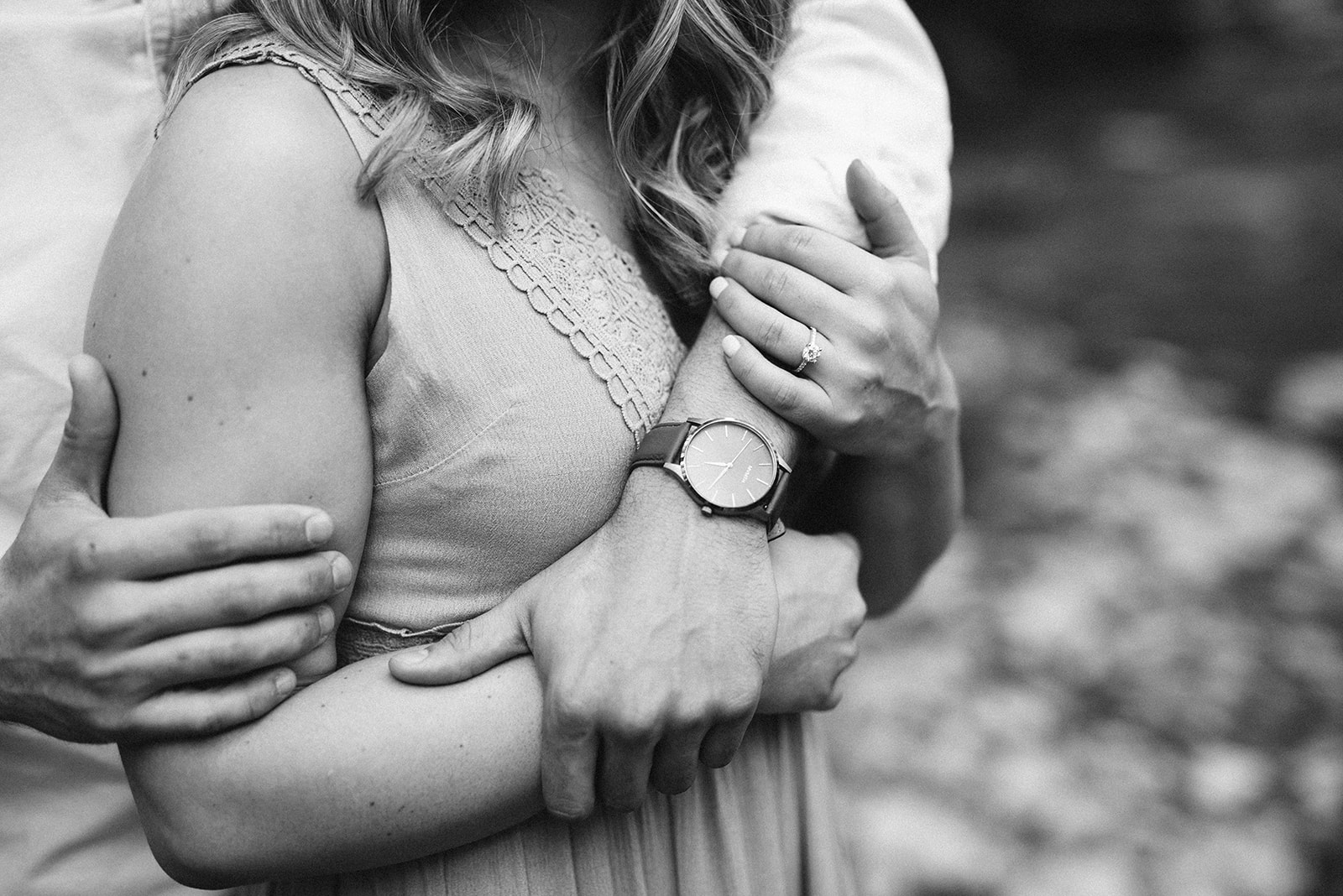 MVMT watch and engagement ring close up from wedding photographer in Lancaster, PA.