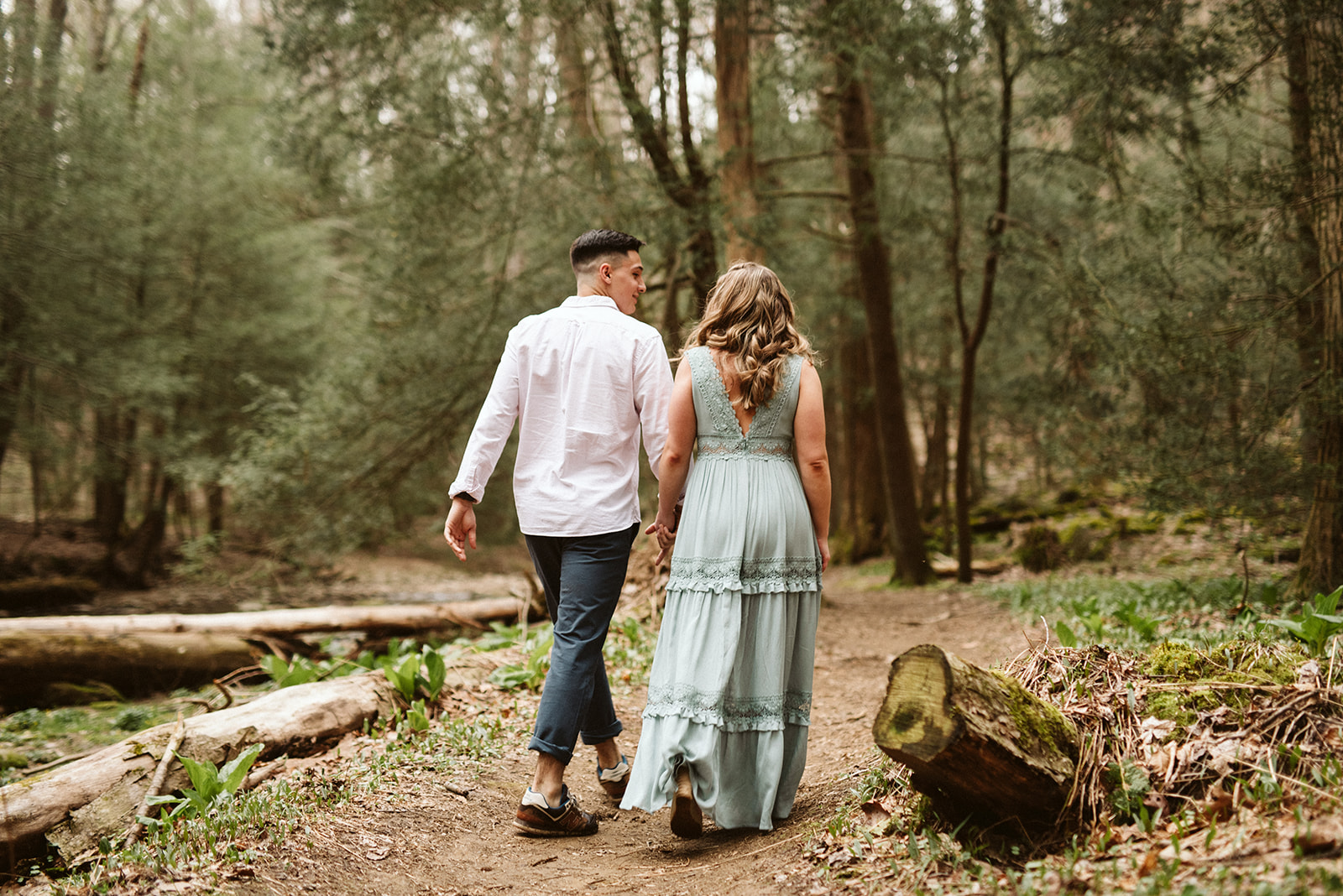 Woodland forest engagement session in Pennsylvania.