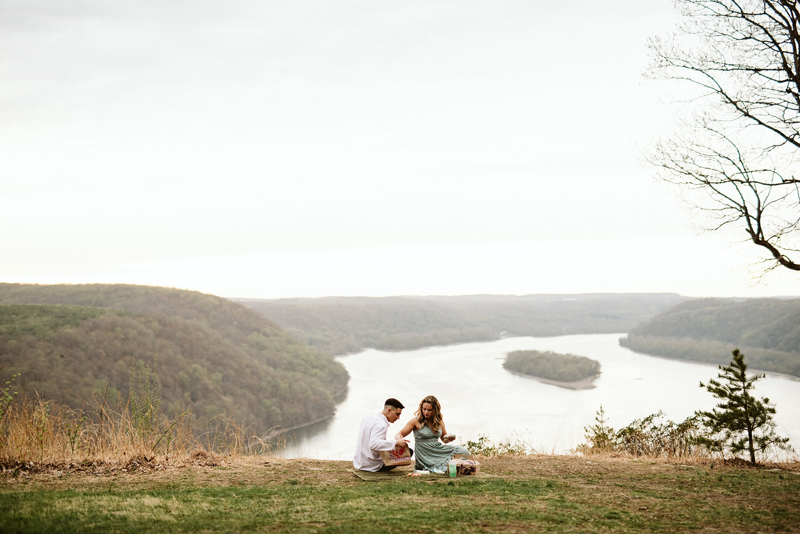 A couple enjoys a Taco Bell picnic at Pinnacle Overlook in Holtwood, Pennsylvania.