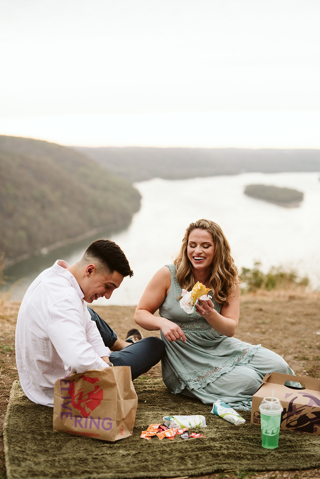 Epic taco bell picnic engagement session at adventurous overlook in Lancaster Pennsylvania.