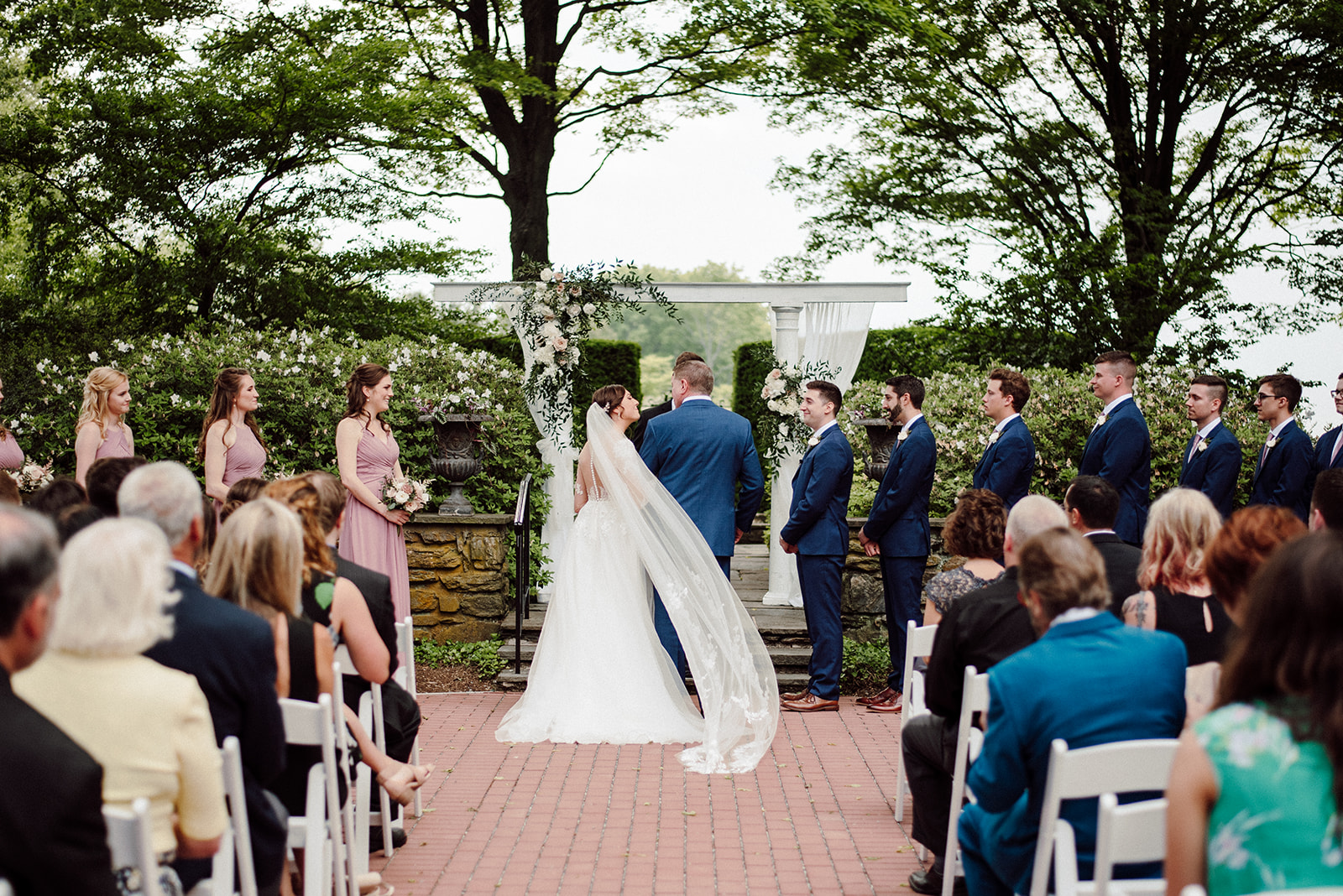 Drumore Estate wedding ceremony in the formal gardens.