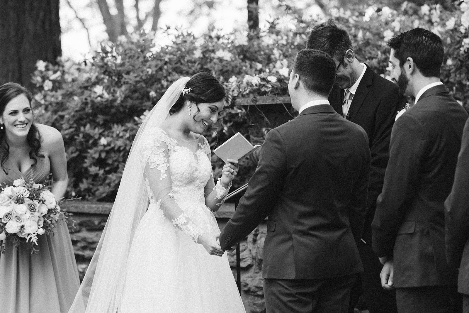 A bride shares her vows during the wedding ceremony at Drumore Estate.