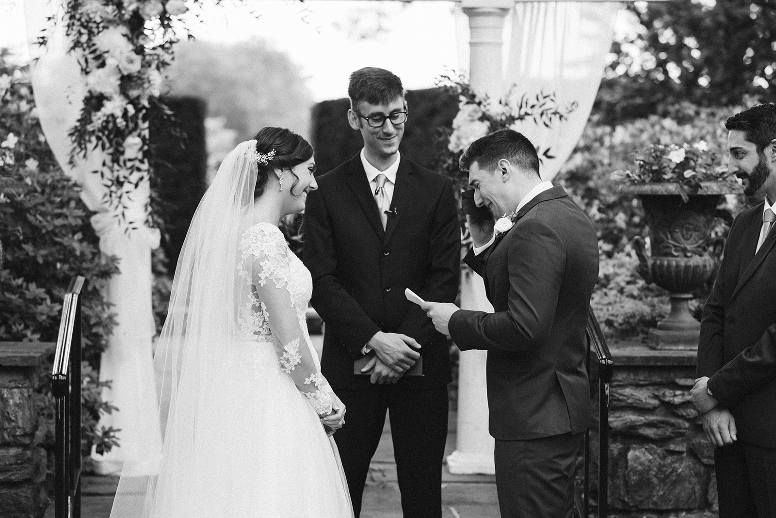 The groom is overwhelmed with emotion while sharing his vows at Drumore Estate.