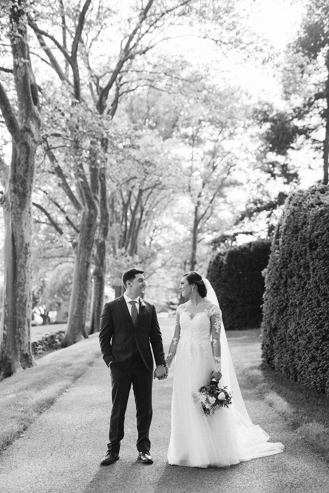 Bride and Groom on their wedding day at Drumore Estate.