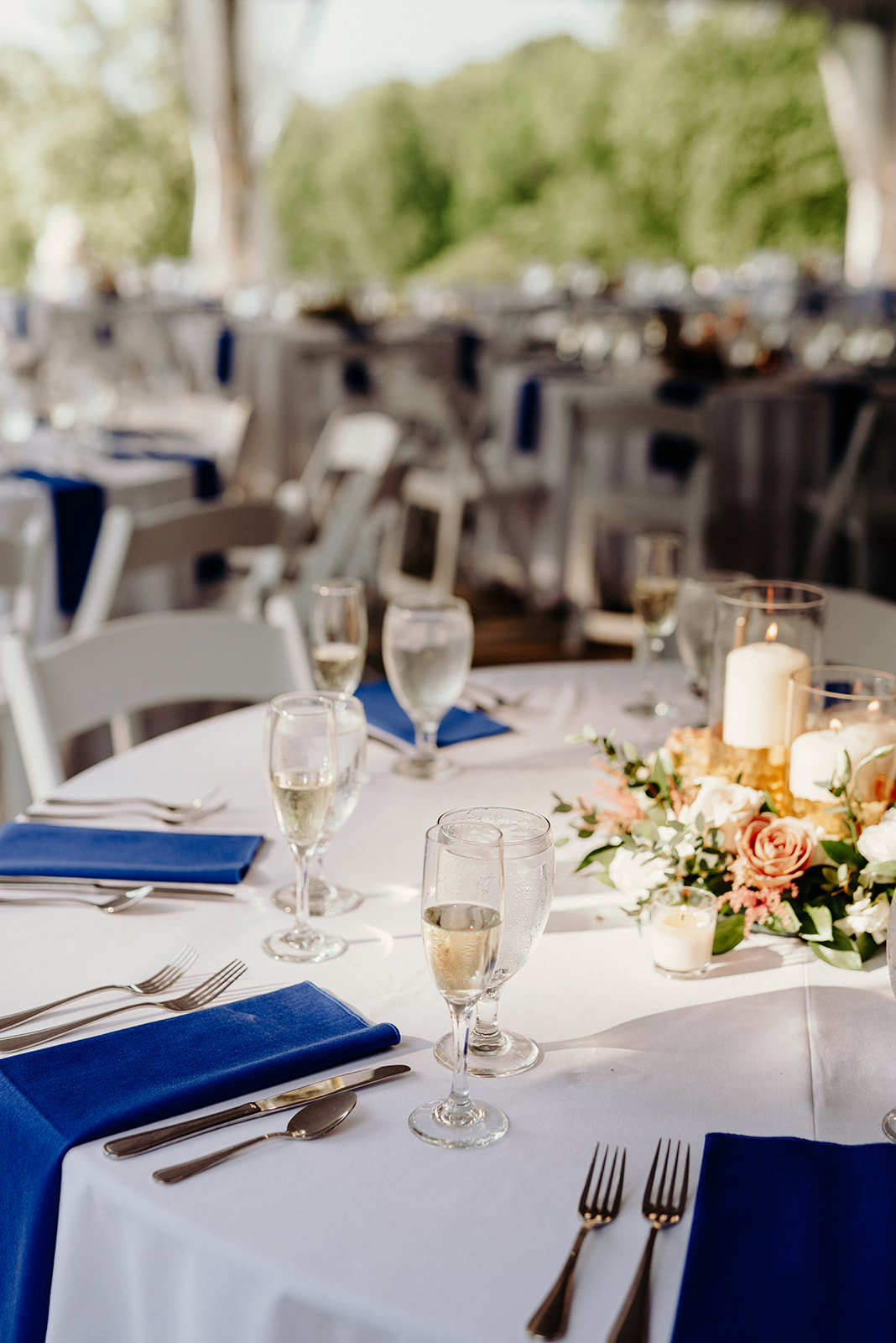 Blue and mauve wedding reception at Drumore Estate.