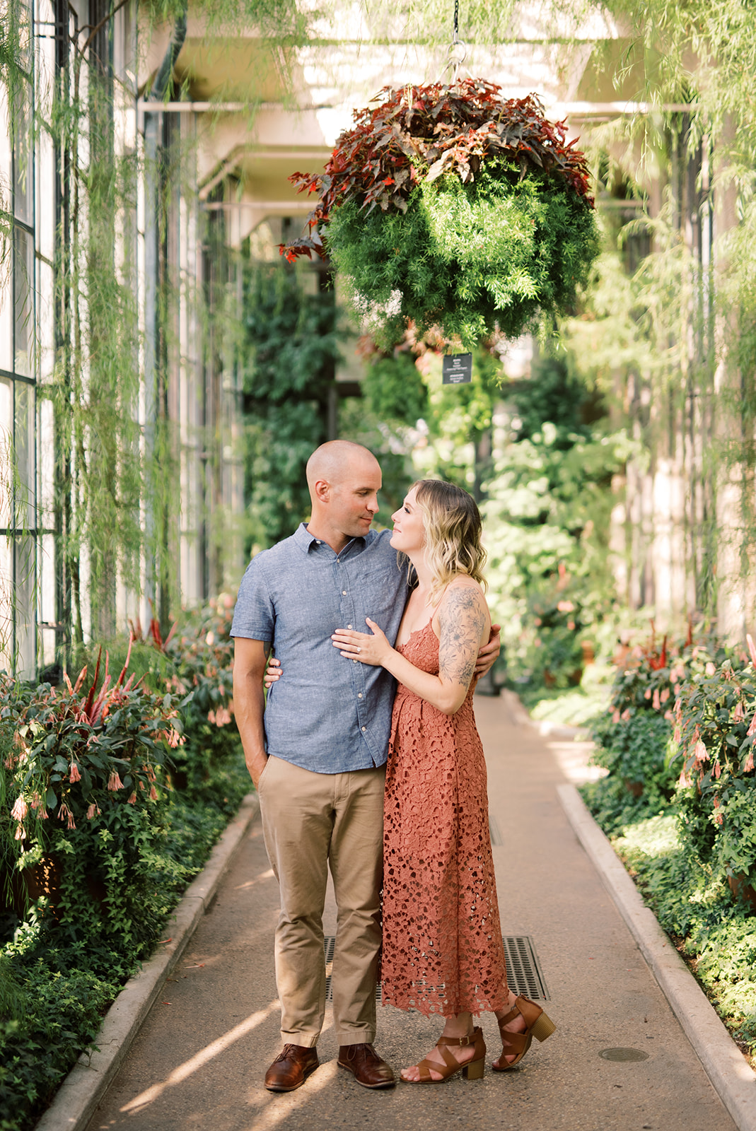 An engagement session at the conservatory at Longwood Gardens.
